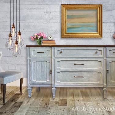 Mid Century Light Gray & Wood Credenza