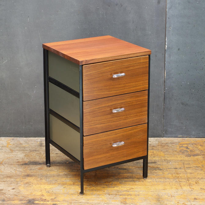 George Nelson Steel Frame Herman Miller Petite Chest Drawers Bedside Table Stand Vintage Mid-Century Modern by BrainWashington