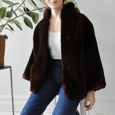 vintage 60s faux fur coat, brown teddy bear coat, plush cropped warm winter jacket, size M by ImprovGoods
