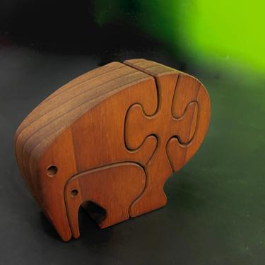 Animal Puzzle Sculpture Wood Table Top Vintage Mid Century Modern 1950's Italy by modern2120