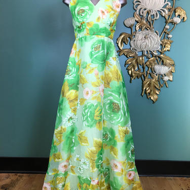 1960s maxi dress, vintage 60s dress, green floral, chiffon formal, 60s bridesmaid, size x small, sheer floral gown, 24 waist, sleeveless by BlackLabelVintageWA