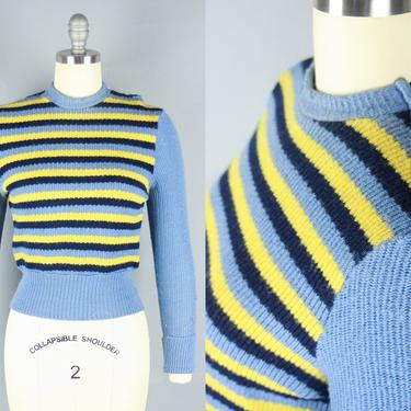 1950s STRIPED Sweater | Vintage 40s 50s Blue & Yellow Cropped Pullover with Zip Neck | xs by RelicVintageSF