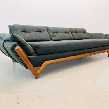 mid century modern gondola sofa with walnut face trim by designer Adrian Pearsall for Craft Associates by AtomicJunkiesGallery