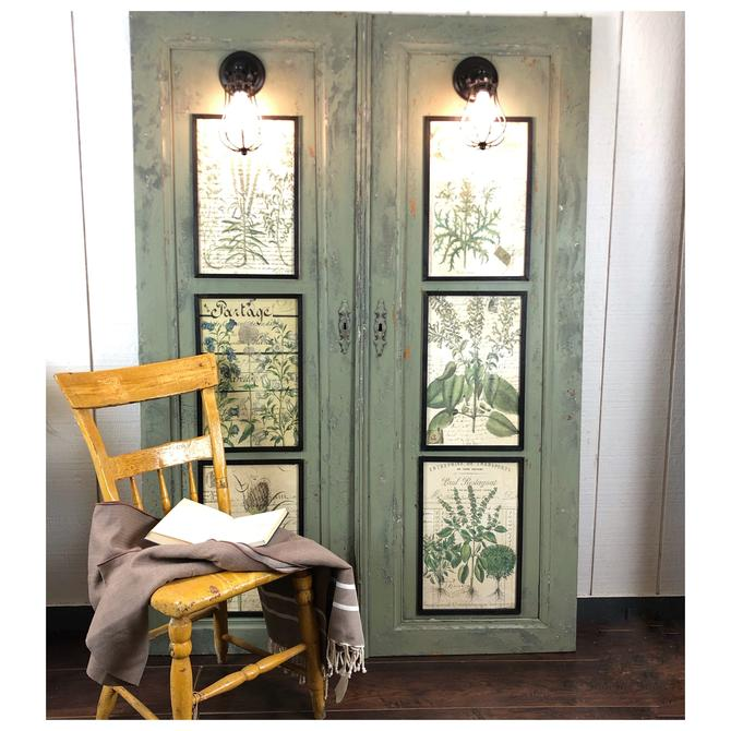 Vintage Door Panel Botanical Wall Sconces by RustandRefind