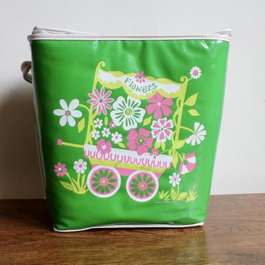 Retro Boho 70s Green Travel Cooler, Hippie Bohemian, Flower Power, 1970s, floral, Soft Cooler, Drink Cooler, Flower Cart by FORAGEmodernhome