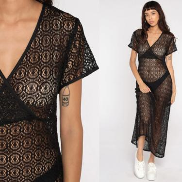 Lace Maxi Dress SHEER Black Crochet Dress 90s Grunge Boho V Neck 1990s Vintage Bohemian Festival Party Short Sleeve Medium 8 by ShopExile