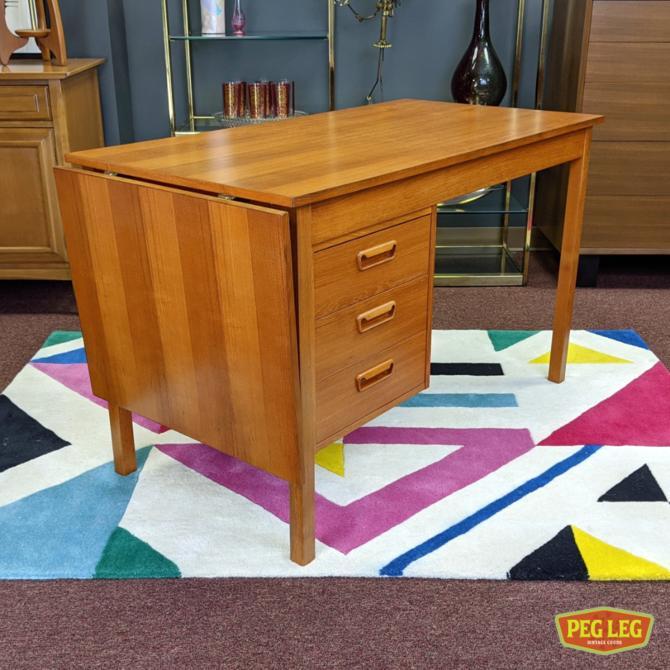 Danish Modern teak desk with drop-leaf