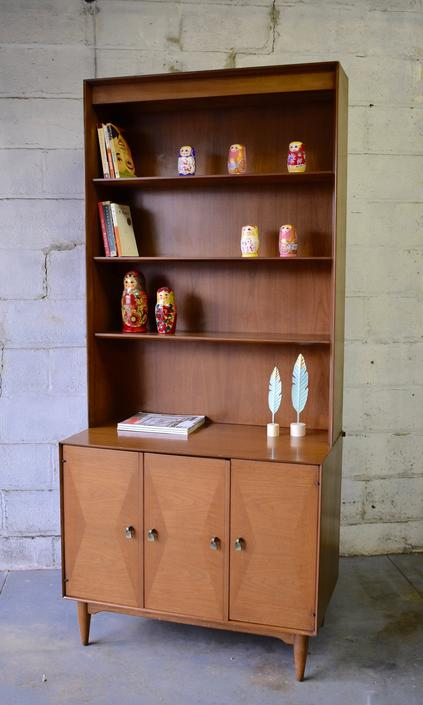 Mid Century MODERN Bookcase / China Cabinet / Hutch by CIRCA60