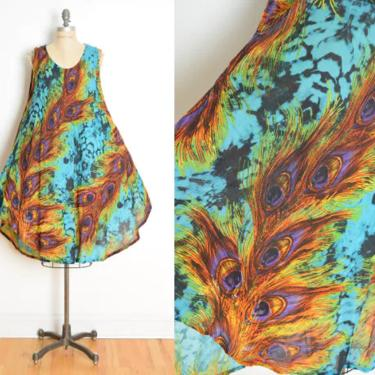 vintage 90s dress peacock feather print tie dye trapeze colorful hippie sun dress clothing by huncamuncavintage