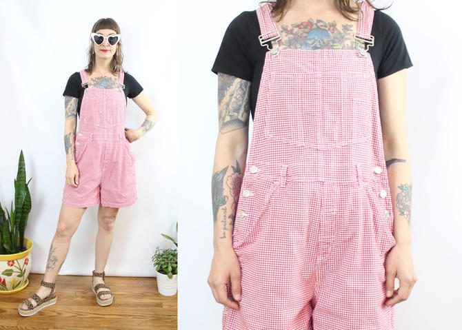 Vintage 90's Red and White Plaid Shorteralls / 1990's Overall Shorts / Denim Overalls / Summer / Women's Size Small Medium by RubyThreadsVintage