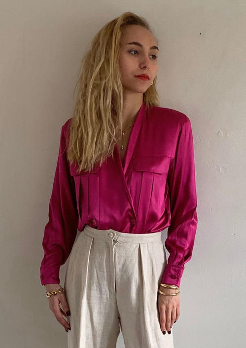 80s silk charmeuse wrap front blouse / vintage magenta fuchsia liquid silk charmeuse plunging double breasted Anne Klein blouse   XS petite by RecapVintageStudio