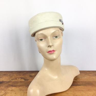 Vintage 60s hat | vintage ivory rabbit  fur  hat | 1960s Italian winter white bucket hat by BeeandMason