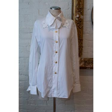 1990's | Escada | Vintage Fleur-de-lis White Blouse by LadyofLizard
