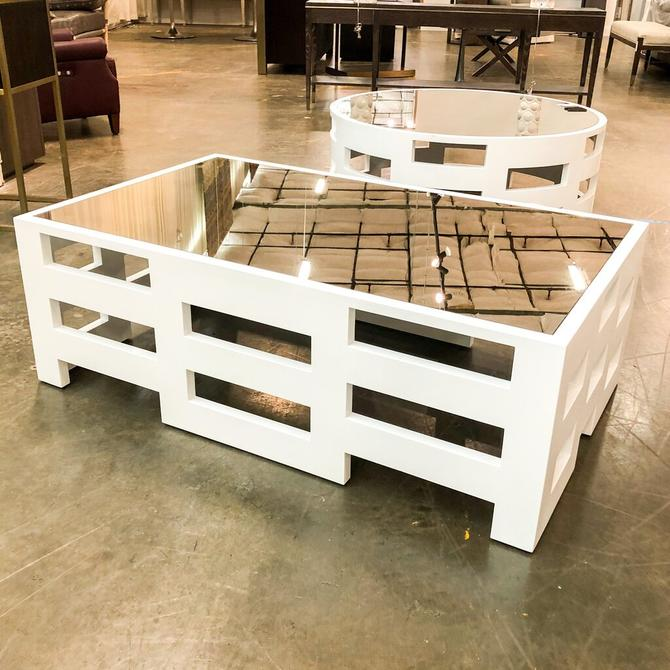 White Mirrored Top Cocktail Table