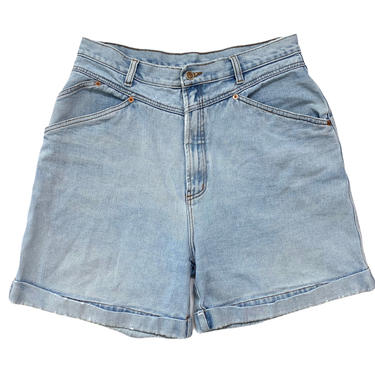 Vintage 1990s BILL BLASS High Waisted Jean Shorts ~ measure 31 Waist ~ Faded / Worn-In Denim ~ Long Rise / Mom Jeans ~ by SparrowsAndWolves