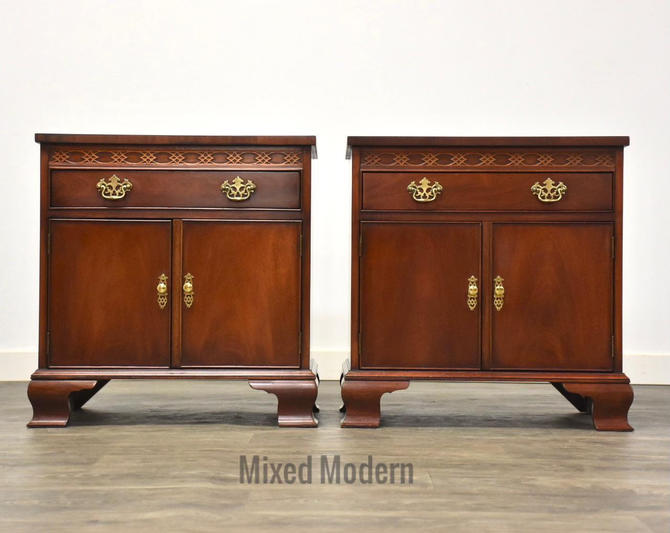 Baker Mahogany Chippendale Style Traditional Nightstands- a Pair by mixedmodern1