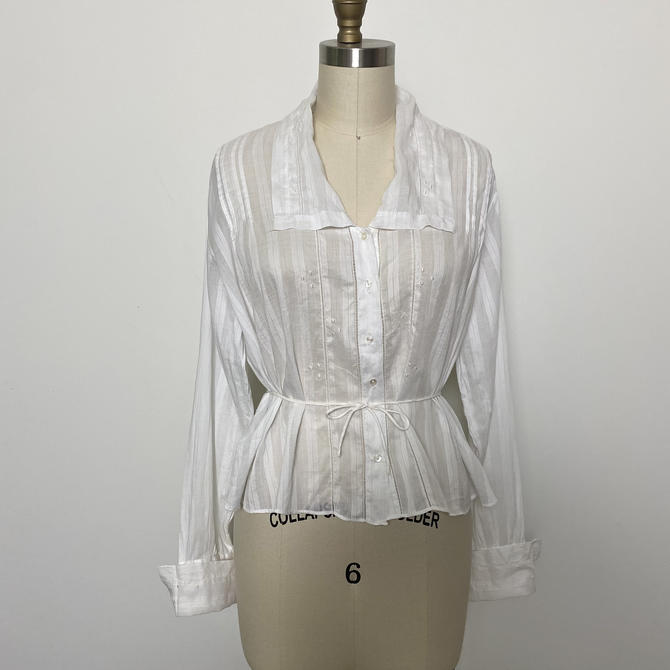 Antique 1910s Blouse Sheer White Cotton by littlestarsvintage