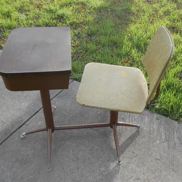 Vintage Mid Century Danish Modern Lu Van Inc 1950s 50s Childs Desk Atomic Age Eames Era Kids Childrens Home School Desk Chair All Original by kissmyattvintage