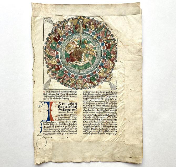 Anton Koberger 15th C Bible Woodblock Illustration of God Creating Eve Restored by templeofvintage