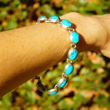 """Vintage TAXCO Sterling Silver & Turquoise Link Bracelet, Mexico 925, 10 Turquoise Stones, Accent Curb Chain Links, Toggle Clasp, 9"""" L by shopGoodsVintage"""
