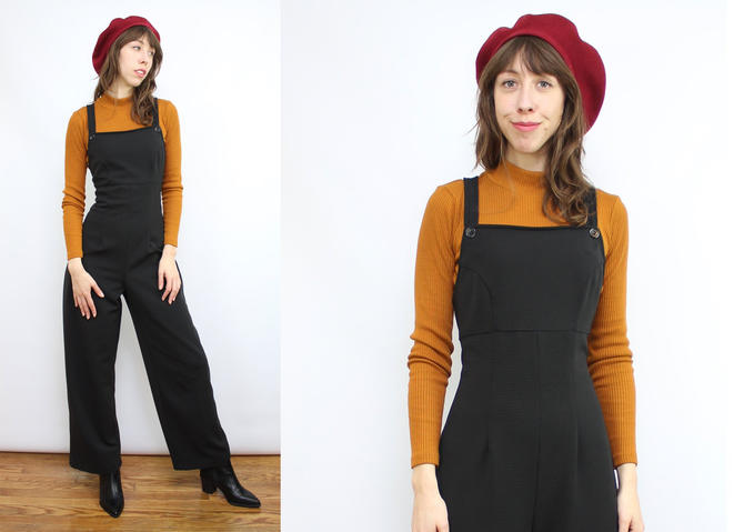 Vintage 90's Black Stretchy Jumpsuit / 1990's Polyester Overall Jumpsuit / Straight Leg / Women's Size Medium by RubyThreadsVintage