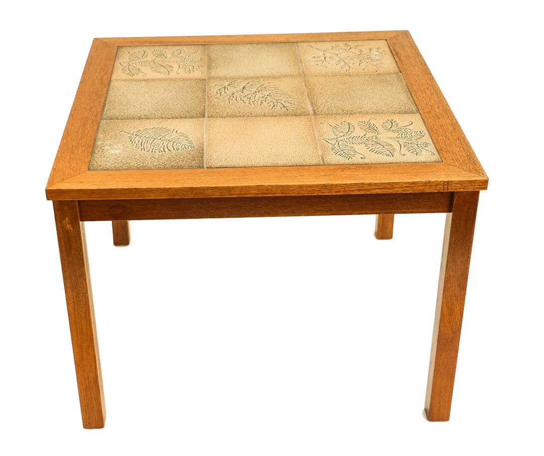 Danish Modern Teak Tile Side Table By Marykaysfurniture