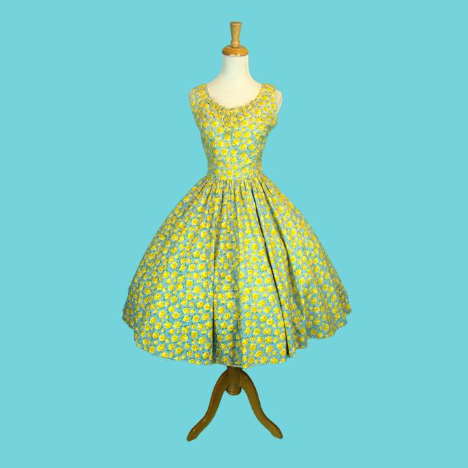 CUTE 1950s Vintage Summer Dress Novelty Blue Yellow Rose Print Cotton Circle Skirt Rhinestone Rose Appliques Size M by WalkinVintage