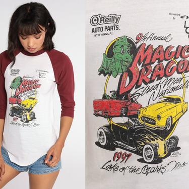 Magic Dragon Street Meet Nationals Shirt 90s Car Shirt Lake Of The Ozarks Shirt Classic Car Graphic Tshirt 1990s Ringer Tee Small xs by ShopExile