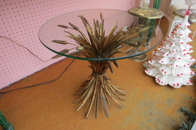 Vintage MCM gilded metal sheaf of wheat side table
