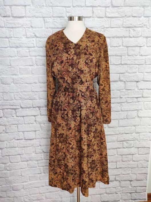 Vintage 70s 80s Natural Floral Dress // Waist Tie Midi Dress by GemVintageMN