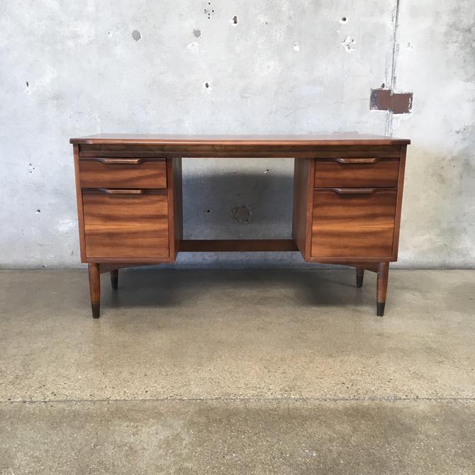 Vintage Mid Century Walnut & Pecan Wood Desk
