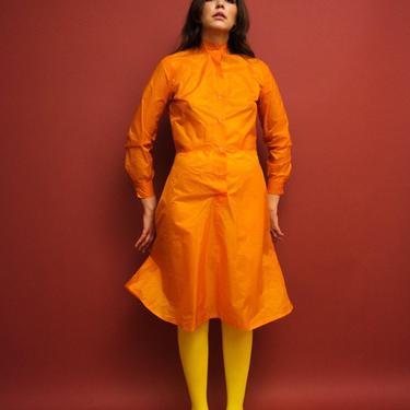 vintage 'Climate Change Preparedness Center' orange nylon mockneck dress by FlowerInTheMirror