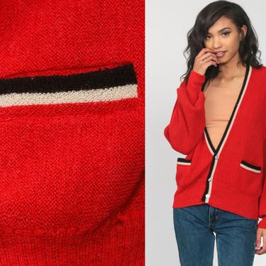 Wool Cardigan Sweater Red-Orange Striped 80s Sweater Grunge Button Up 1980s Grandpa Slouchy Vintage Retro 70s Boho Extra Large xl l by ShopExile