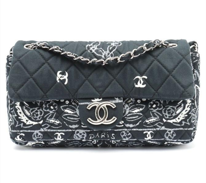 Vintage 90's CHANEL CC Logos Monogram Bandana Blue Quilted Fabric Crossbody Shoulder Bag Purse Chain Strap w Auth card, sleeper and box! by MoonStoneVintageLA