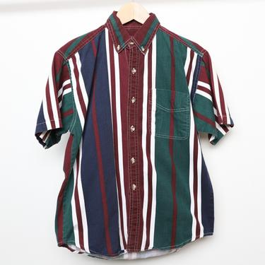 vintage oxford dropout SURF style men's STRIPED forest green & red 90s short sleeve button up shirt -- men's size small by CairoVintage