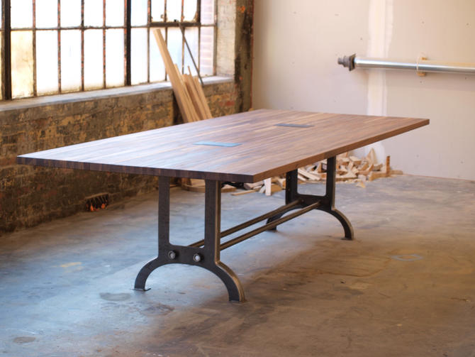 Large Walnut industrial Conference or Dining room Table by CamposIronWorks