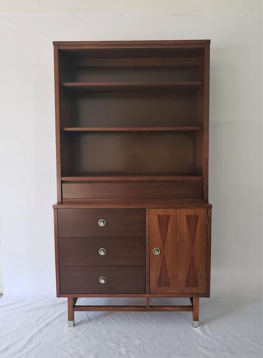 Mid Century Modern Stanley Walnut and Rosewood Hutch by WrightFindsinMCM