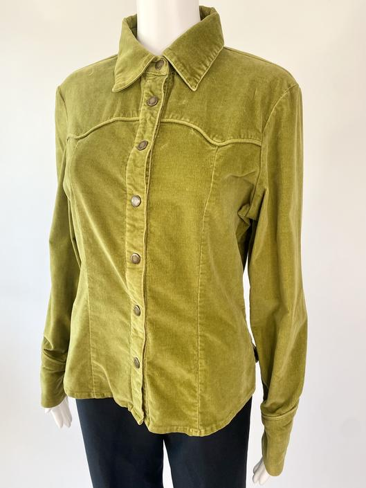 Green Soft Corduroy Western Blouse!