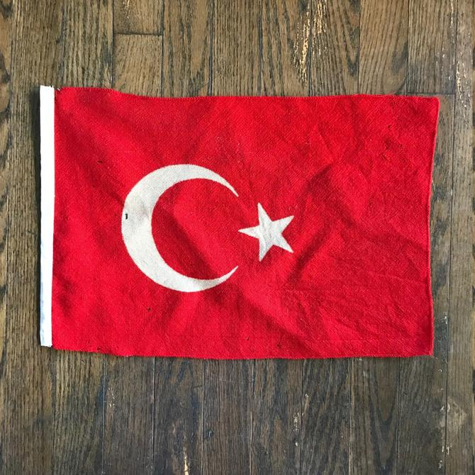 1950s Flag of Turkey Turkish Yacht Colors Vintage Mid-Century Crescent Moon Star Muslim State Europe Istanbul Bosphorus by BrainWashington
