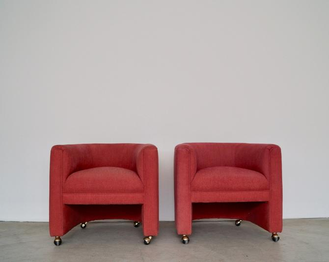 Pair of Mid-century Hollywood Regency Barrel Back Chairs in Coral With Brass Casters! by CyclicFurniture