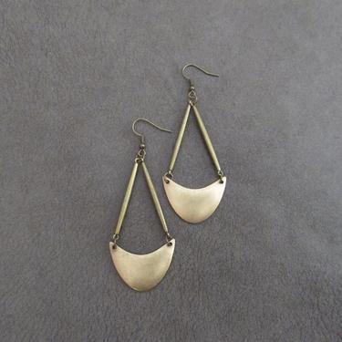Hammered bronze earrings, statement earrings, bold long earrings, geometric mid century modern earrings, ethnic tribal earrings, boho by Afrocasian