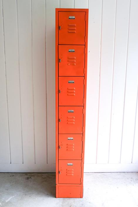 Orange Penco Products Industrial Vintage Distressed Metal Locker Cabinet with 6 Cubbies - Made in Oaks PA by PortlandRevibe