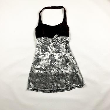 90s Burgundy Velvet and Silver Floral Halter Dress / All That Jazz / Small / Medium / Holilday / Crushed Velvet / Grunge / Cyber / Brocade by shoptrashdotnet