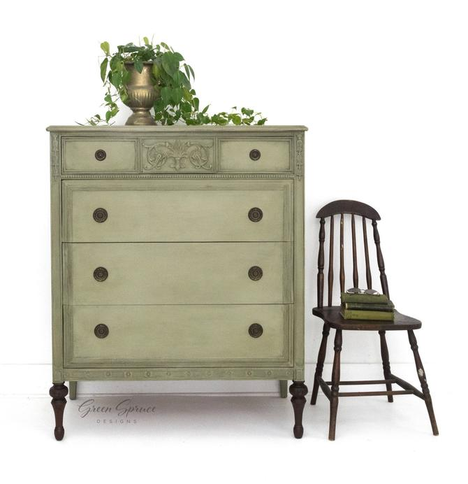 Antique Chest of Drawers, Hand Painted Sage Gray Green Dresser, Vintage Bureau with Four Drawers and Stained Legs by GreenSpruceDesigns