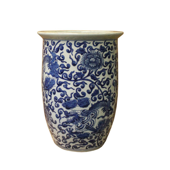 Chinese Blue White Double Dragons Scroll Pattern Tall Porcelain Pot ws1098E by GoldenLotusAntiques