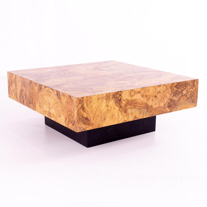 Milo Baughman Style Mid Century Burlwood Formica Square Pedestal Coffee Table - mcm by ModernHill