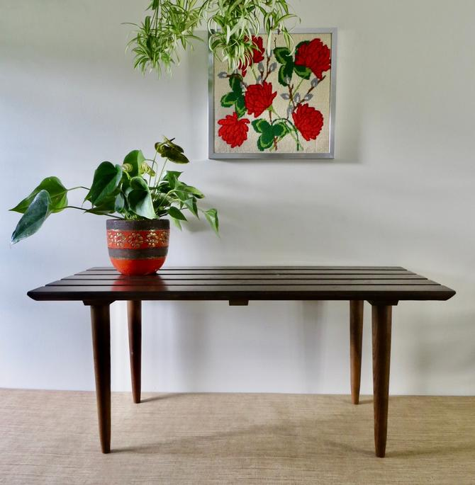 """Mid Century Slat Bench - Mid Century Slat Coffee Table - Vintage Wood Slat Bench - 36"""" Bench - George Nelson Style by SoulfulVintage"""