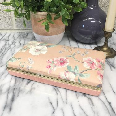Vintage Jewelry Box Retro 1980s Floral + Pink and Blue + Rectangle + Jewelry Storage + Organization + Home and Vanity Decor by RetrospectVintage215