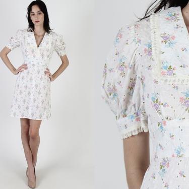 White Embroidered Eyelet Mini Dress / Pastel Color Floral Print / Vintage 70s Bouquet Flower Dress / Cutout Sheer Prairie Mini Dress by americanarchive