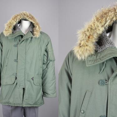 1970s US Airforce N-3B Snorkel Parka   Vintage 70s Heavy Duty Winter Coat with Fur Trim Hood   Large by RelicVintageSF